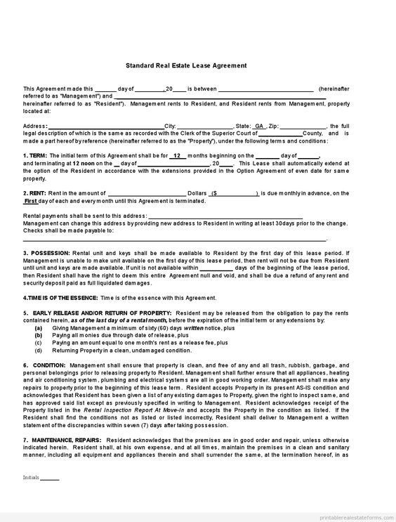 Printable Sample standard real estate lease agreement buying Form