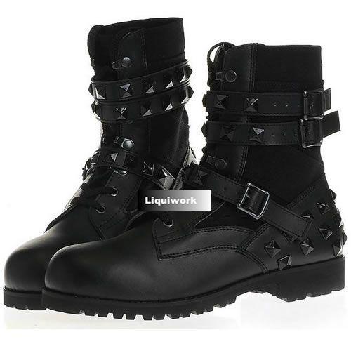 Trendy Black Leather Goth Punk Rock Biker Cowboy Boots Mens SKU-1280021