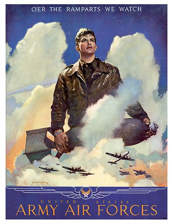 WWII US Army Air Corps Pilot Poster Giclee Print