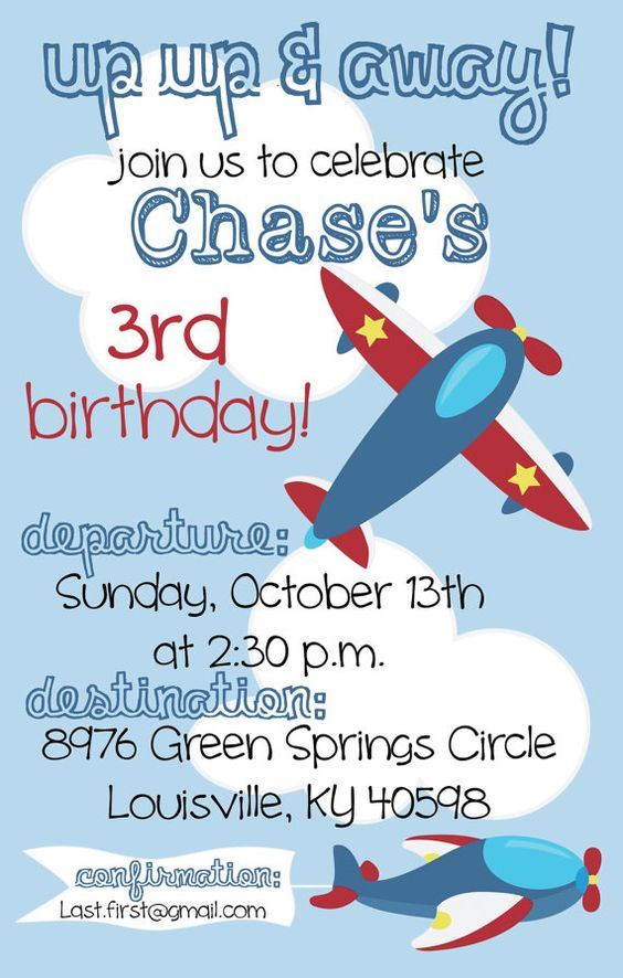 Airplane Birthday Party Invitation by PumpkinSeedPaperie on Etsy ...