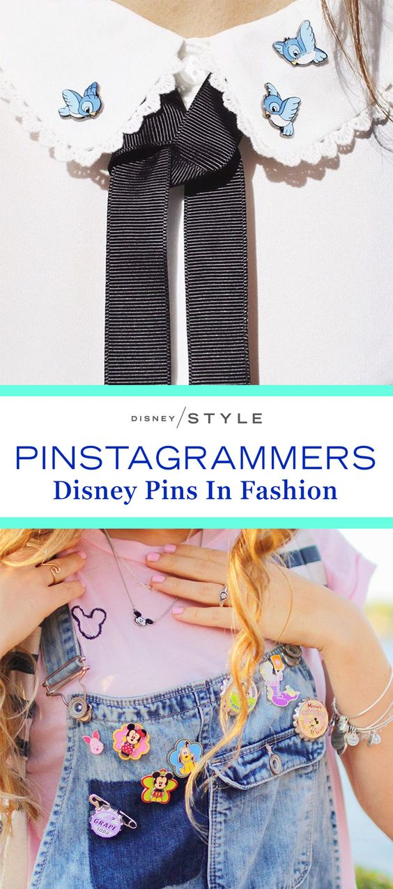 We love seeing how Instagrammers are styling their Disney pins in everyday fashion. Check out our favorite styled Disney pins! | [ http://blogs.disney.com/disney-style/fashion/2016/03/08/disney-pins-instagram/ ]: