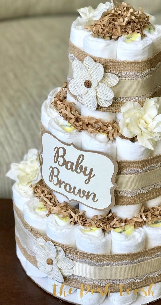 Gender Neutral Diaper Cake, Baby Shower Centerpiece Decor Gift, Natural Burlap Lace Floral Shabby Ch