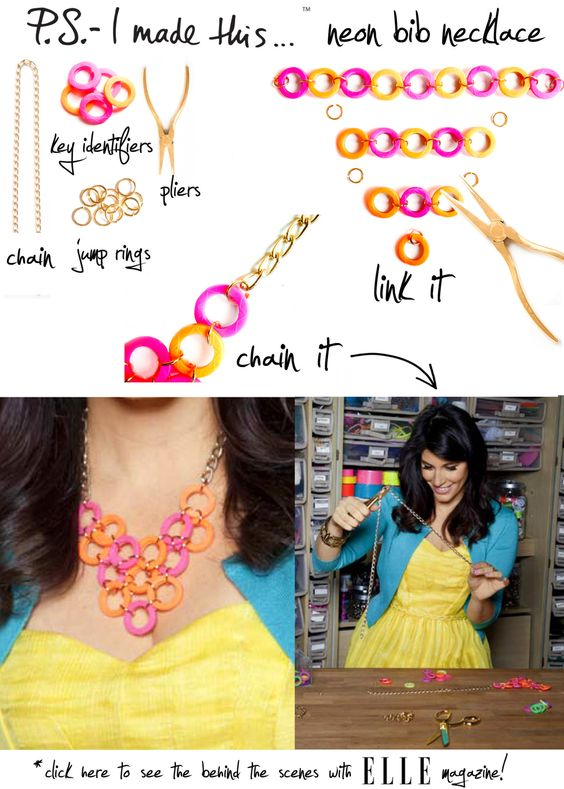 """It should be of no surprise, a pop of neon brings """"tiers"""" of joy to our eyes. A cascade of bold brights works day or night, and Summer's the ideal time to radiate shocking hues. Designers like Tom Binns and Oscar de la Renta have shown us that jewels are more chic with a colorful streak…unlock your own inner glow with this DIY neck candy!"""