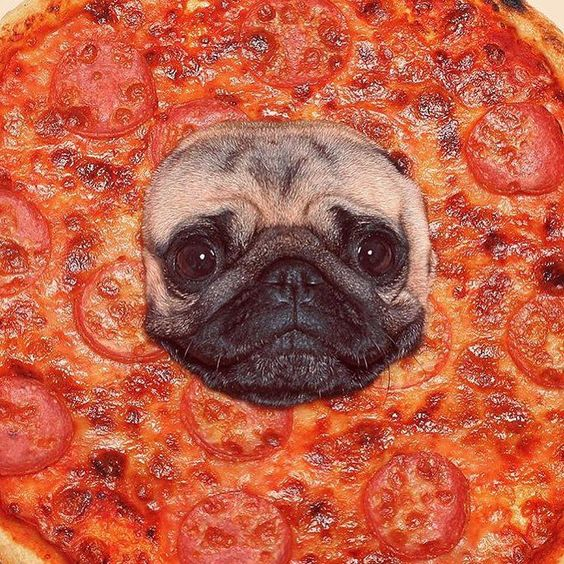by pizza