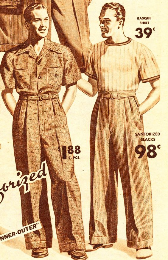 1940s Day Wear: Trousers, 1940s Mens Fashion And Men's Casual Pants On