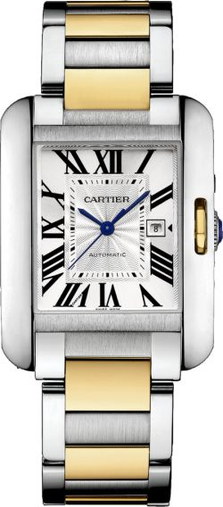 Cartier Tank Anglaise watch, Large model, 18K gold, steel