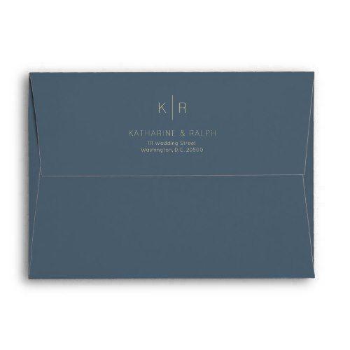Simple Minimalist Navy Monogram Wedding Envelope Zazzle Com Monogram Wedding Wedding Envelopes Wedding Gift Diy