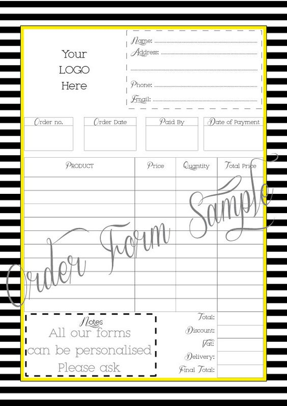 Order Form - Printable - Work at Home - PDF FILE ...