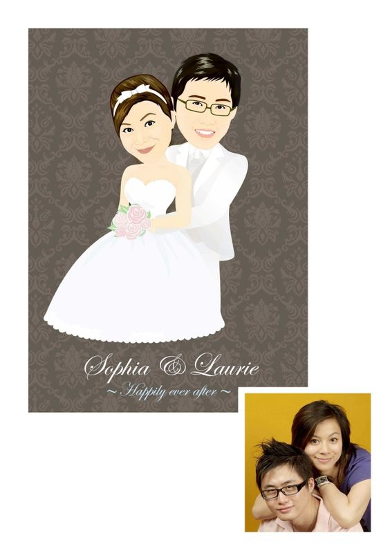 Use the caricature from the wedding on the thank you card.