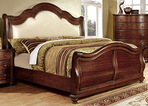 Furniture Of America Selene Traditional Sleigh Bed Brown Cherry Queen Upholstered Platform Bed Bed Frame Sets California King Size Bed