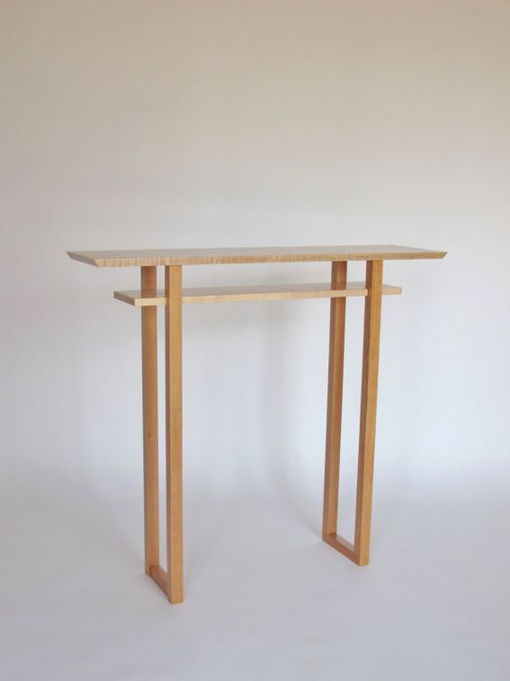 Tall Narrow Foyer Table Wood Hall Table Side Table Minimalist