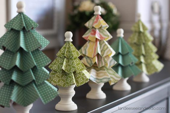 DIY for folded paper trees from Landee See Landee do: