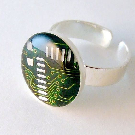 Circuit board domed ring. Geek jewelry. Resin Ring. Tech Jewelry by designer Techcycled on Etsy