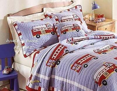 FIRE TRUCK Twin (single) QUILT SET - BOYS COMFORTER ENGINE FIREMAN FIREFIGHTER