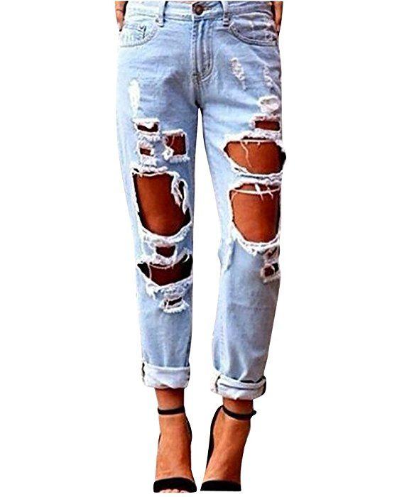 Damen Jeans Basic Skinny High Waist Löchern Boyfriend
