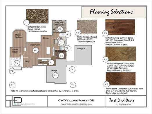 Photo: Choosing flooring types is the first major step in starting color and material selections for new construction. Although preliminary colors are selected, I like to keep it open for change as the coordination process continues. This helps the client and builder come up with a viable flooring budget for the project as well as plan to accomadate any transition issues between various types of flooring. #JobInProgress #NewHomeConstruction #InteriorDesign#MinutesMatter