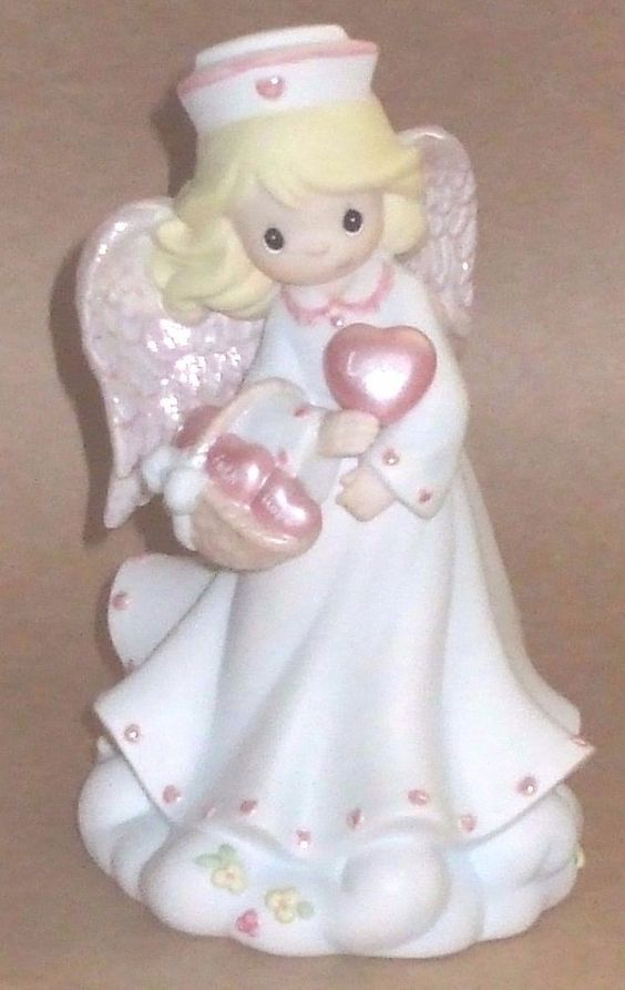 "LARGE 7"" PRECIOUS MOMENTS NURSE ANGEL FIGURINE ""A HEALING HEART OF LOVE"""