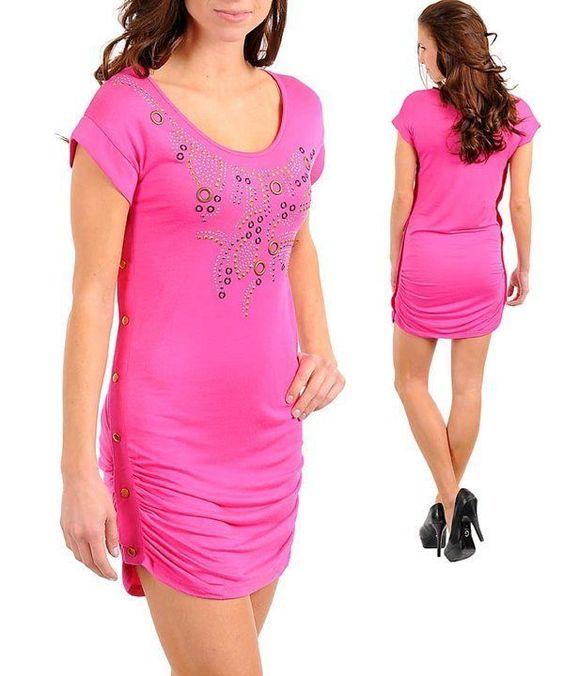 Choose A Size -S M L Xl- Pink,Stretchy Mini Dress With Studs