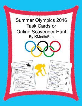 Summer Olympics 2016 Task Cards or Online Scavenger Hunt by KMediaFun