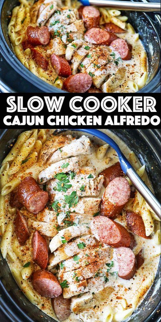 Slow cooker Cajun Chicken Alfredo