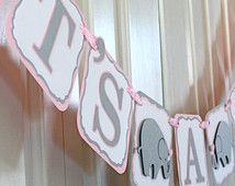 It's A Girl Elephant / Elephant Baby Shower Banner