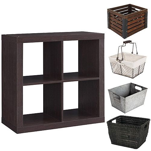 Better Homes And Gardens Square 4 Cube Organizer With Optional Storage Bins Mutliple Options