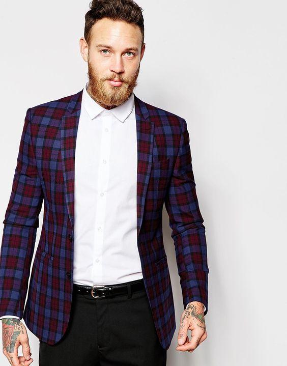 Image 1 of ASOS Skinny Suit Jacket in Plaid Check | Debonair