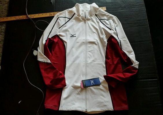 **BRAND NEW** Mizuno Women's Volleyball Jacket M nwt black white burgundy med #mizuno