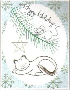 Stitching Cards Designs   ... card was made using the Stitching Cards Christmas cat and mouse
