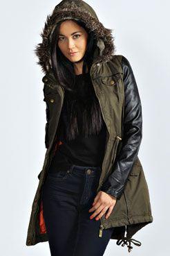 Parka Coat Leather Sleeves - Coat Nj