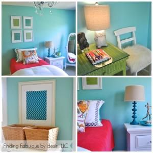 FABULOUS by design:  Green spray painted desk, framed scrapbook papers, target lamp - so many affordable decorating ideas!