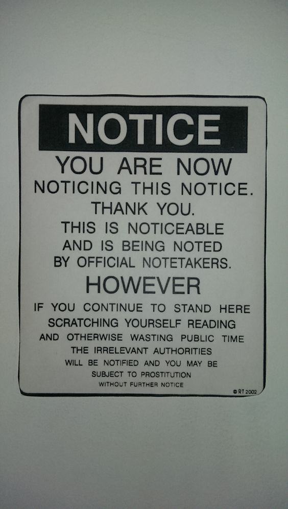 Notice posted at work