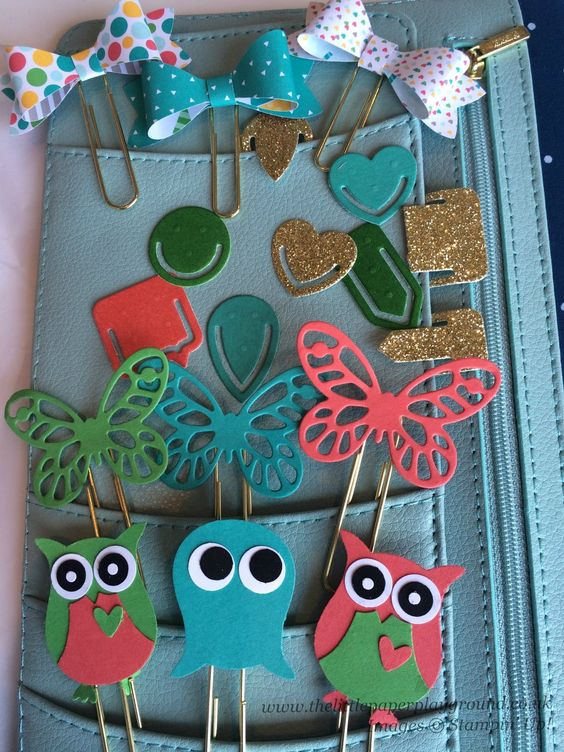 The Little Paper Playground: Planner paper clips using Stampin' Up Bow Builder and Owl Builder punches, Bold Butterflies thinlits and Project Life Paper Clip thinlits.