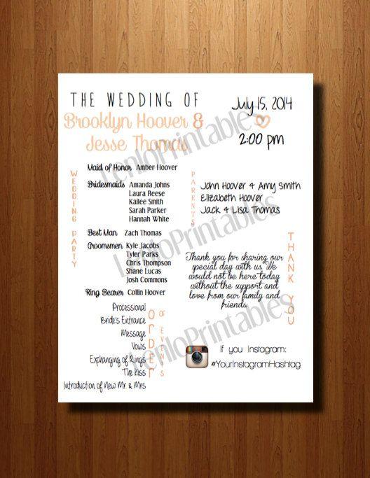 PRINTABLE Wedding Program by ShanlenloDesigns on Etsy