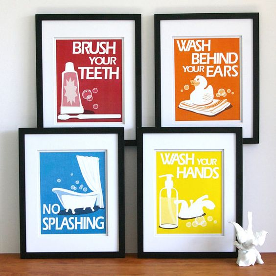 Childrens Bathroom Art Prints  set of 4  5 x 7  by PaperLlamas, $30.00