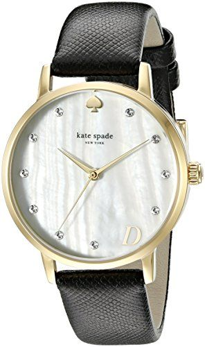 #OutfitOfTheDay #Accessories A classic #Kate Spade New York watch with a saffiano leather band. Crystals shine from the pearlized dial, and a small letter adds a...