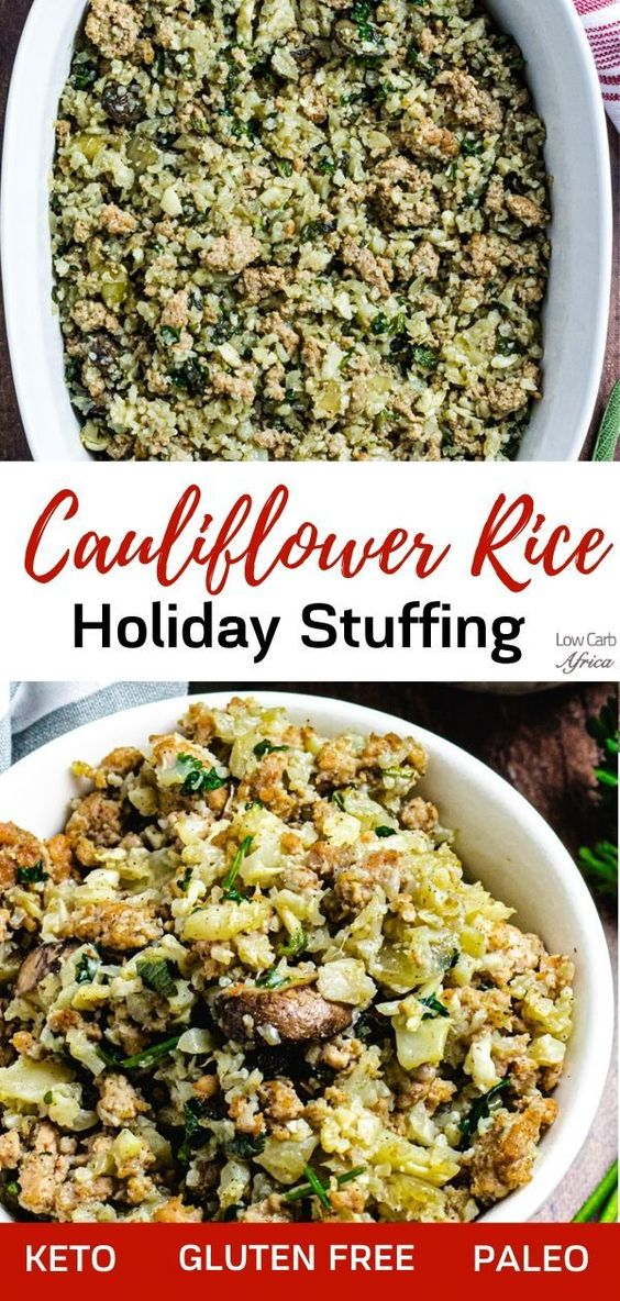 This low carb cauliflower rice and sausage stuffing, garnished with your favorite fall herbs, is sure to please your palate and your guests at your holiday table! #lowcarb #lowcarbrecipe #lowcarbdiet #keto #ketorecipe #ketodiet #lchf #paleo #glutenfree #sugarfree #healthy #christmas #thanksgiving #holiday | LowCarbAfrica.com