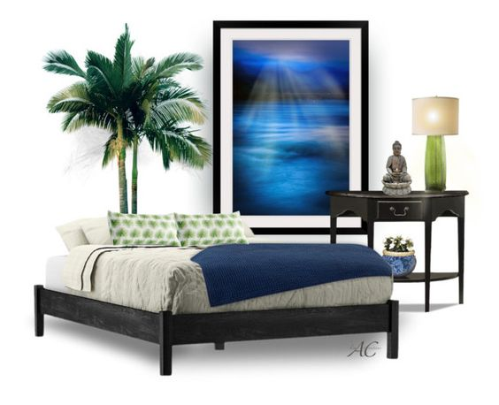 Zen-fully Sleep by kwaldrip on Polyvore featuring interior, interiors, interior design, home, home decor, interior decorating, Leick, Trend Lighting, Fountain and Lenox