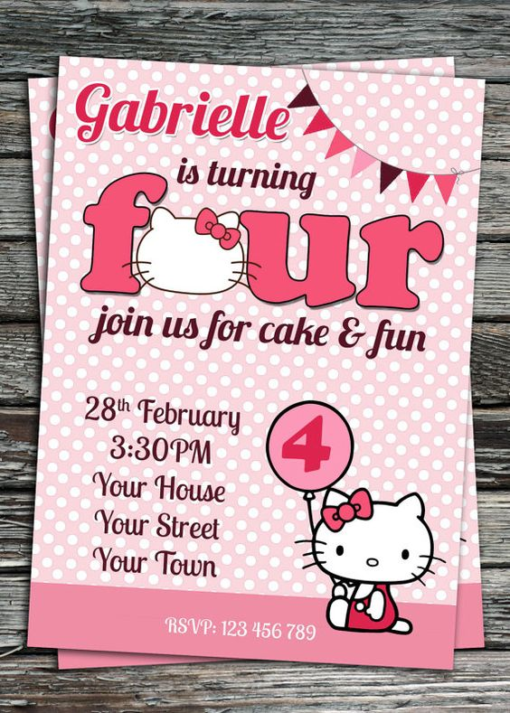 Hello Kitty Birthday Party Invitation Printable von Invites2Print, €8.50