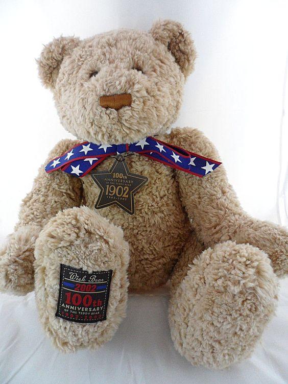 "Gund Wish Bear 24"" Teddy Bear 100th Anniversary 2002 Star Tag New #Gund #Patriotic"