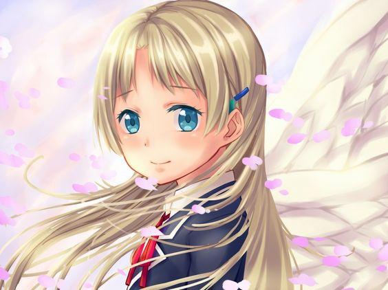 1girl alternate_hairstyle angel_wings arios_(orochi_yuta) blonde_hair blue_eyes chuunibyou_demo_koi_ga_shitai! dekomori_sanae long_hair school_uniform solo wings