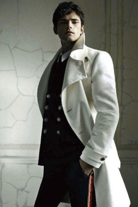 Men's white military style coat. Fresh fashion inspiration daily