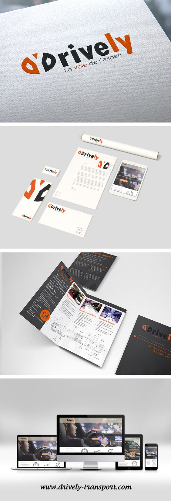 Logo, brochure, charte graphique, site internet - Logotype, booklet, graphic charter, website - Drively - Société de transport - Transport company - Monkey Medias