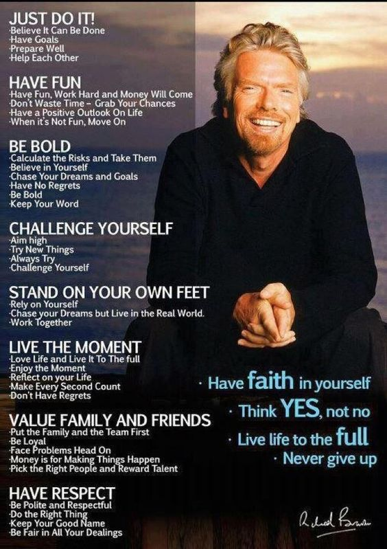 Richard Branson - started his first enterrise at 16, a school newspaper that earned money from ads. He has founded hundreds of businesses since. He's a Yes Man. I wish I could start hundreds of businesses.