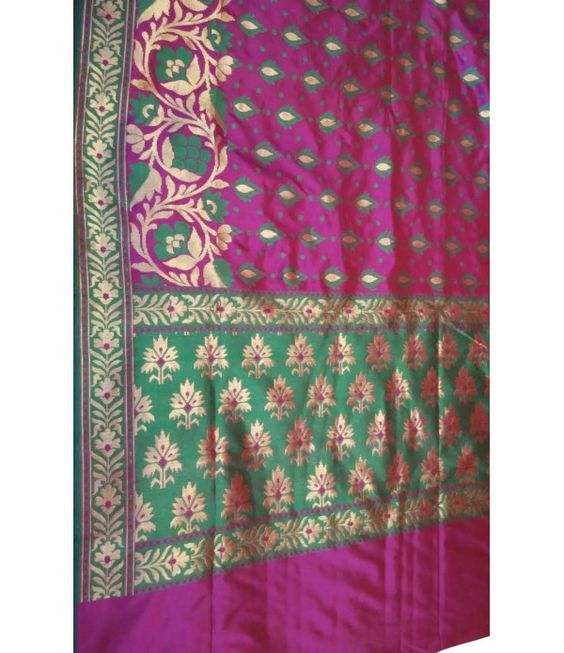 Magenta Green handloom Banarasi Katan Silk Saree-Resham work