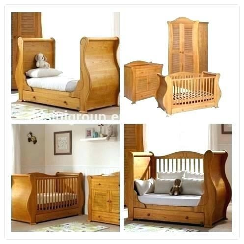 Solid Wood Baby Furniture Sleigh Bed