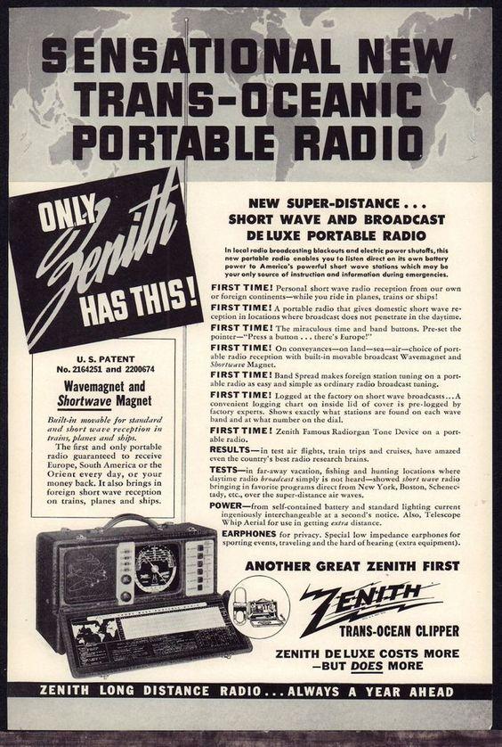 1942 ZENITH Trans-Ocean Clipper Shortwave & Broadcast Portable Radio PRINT…