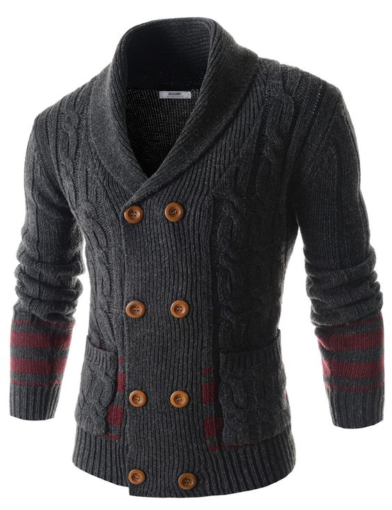 (CEC02-CHARCOAL) Mens Slim Double Breasted Twist Shawl Collar Knitted 8 Button Cardigan