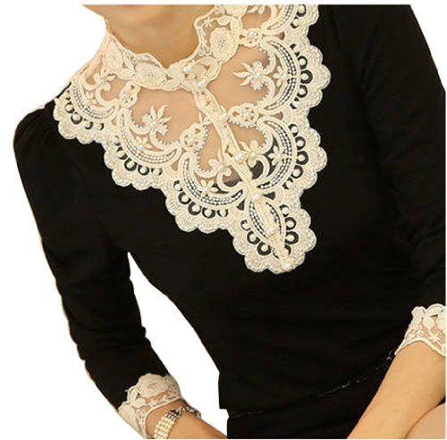 VOBAGA Women's Lace Spliced Shirt Long Sleeve Stand Collar Tops Blouse Black S Vobaga,http://www.amazon.com/dp/B00HRS5NQE/ref=cm_sw_r_pi_dp_mNBytb013YZMYHZM