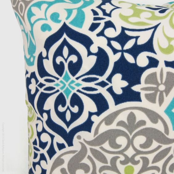 Outdoor Pillow Patio Cushion Aqua Navy Blue By